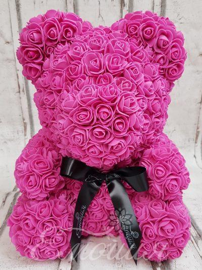 Голям  мечок от изкуствени рози в цикламено